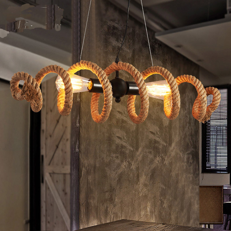 Nordic retro Industrial style personality Water pipe Hemp rope chandelier Cafe bar clothing store droplightNordic retro Industrial style personality Water pipe Hemp rope chandelier Cafe bar clothing store droplight