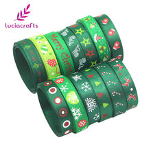"Lucia crafts 5yards 3/8"" 10mm Printing Grosgrain Ribbons Bows Christmas Party DIY Wrapping Handmade Materials 040048006(10)(China)"