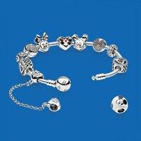 2018 новый 100% стерлингового серебра 925 пробы Diy браслет из бисера Детство воспоминания жизнь любовь женский браслет набор любовь костюм ювели