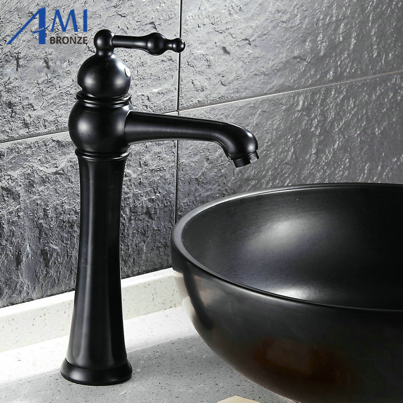 ФОТО Newly Blackend Bathroom Faucet Basin Faucet Brass Mixer Tap Black Brushed Faucets Waterfall 127B