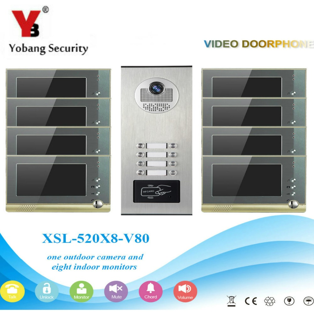 YobangSecurity Video Door Intercom 7Inch Video Door Phone Doorbell Intercom System RFID Access Door Camera For 8 Unit Apartment apartment intercom system 7 inch mointor 4 unit apartment video door phone intercom system video intercom doorbell doorphone kit