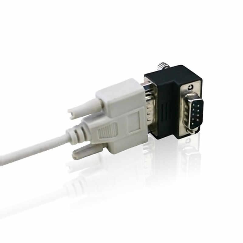 DB9 port serial adapter RS232 transfer kepala, pria terhadap wanita 90 derajat terbalik siku, besar sisi luar.