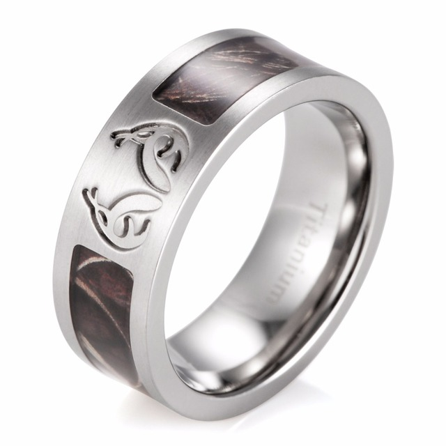 208551abacfafc men rings Men's Real tree MAX-4 Antler Camo Wedding Ring Titanium Camo  Outdoor Hunting