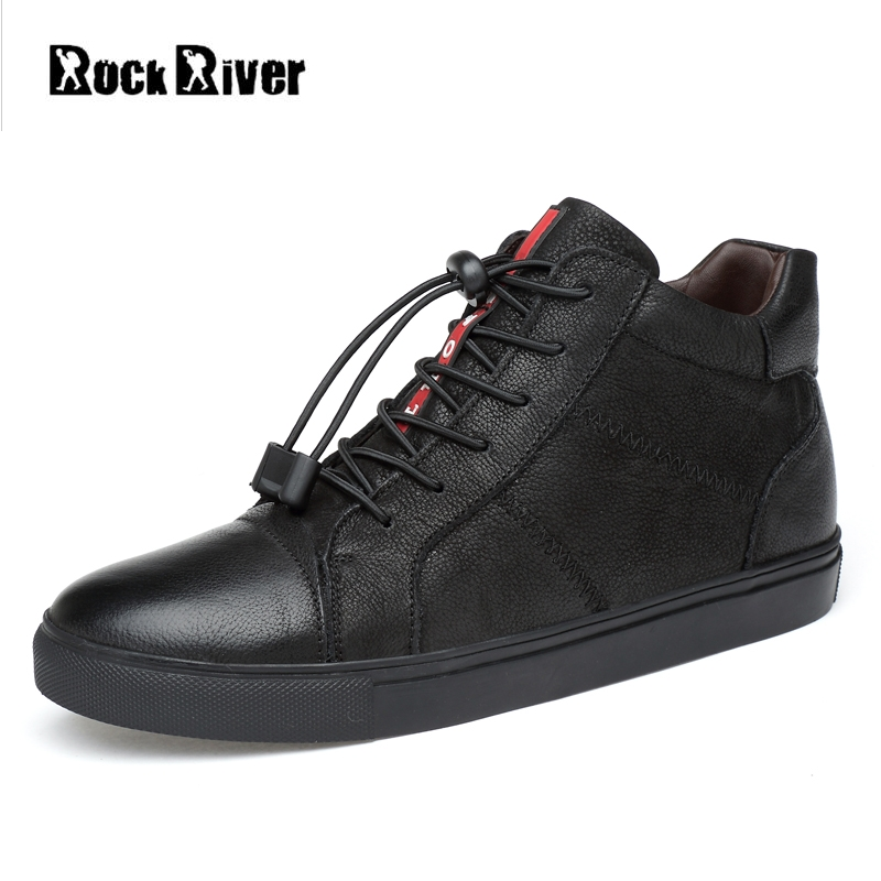 2018 New Spring 100% Genuine Leather Shoes Men Black High-Top Men Shoes Leather Lace-Up Mens Shoes Casual Big Size 36-47 new fashion high top casual shoes for men pu leather lace up red white black color mens casual shoes men high top shoes red