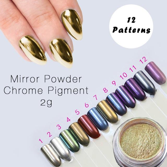 Chrome Nail Powder Gel: 2g Mirror Powder Gold Sliver Chrome Pigment Powder