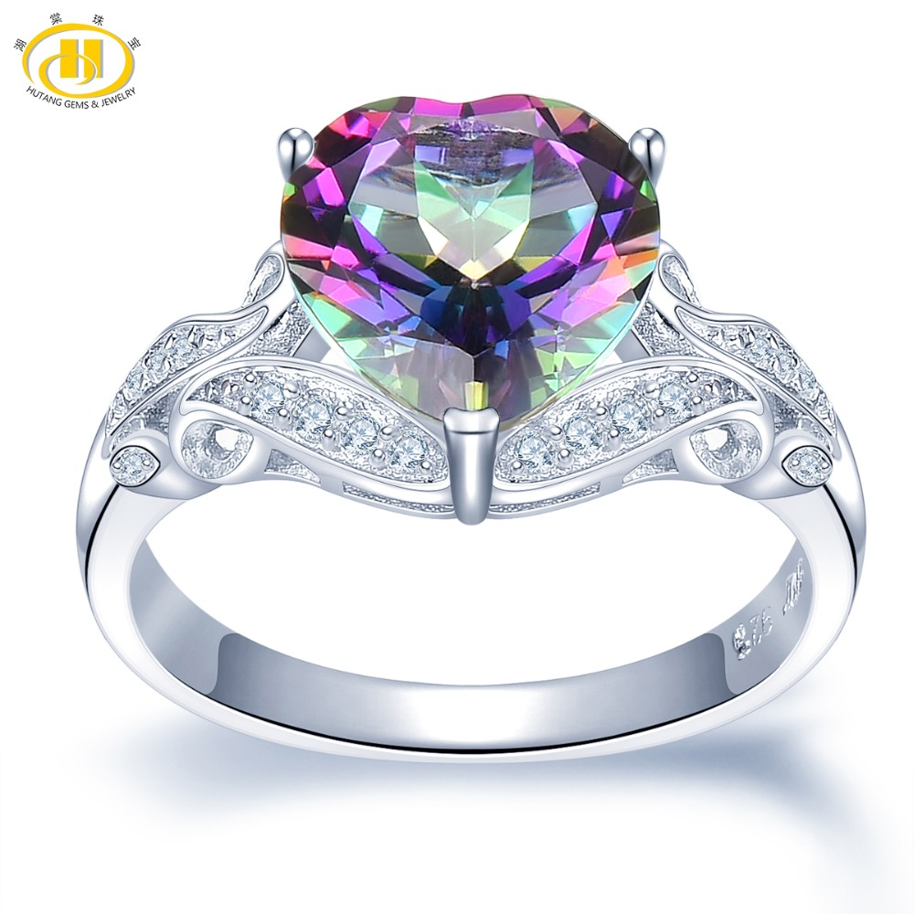 Hutang 925 Silver Rings Natural 4 11ct Mystic Topaz Heart Ring Fine Gemstone Jewelry for Women