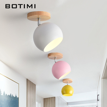 BOTIMI Nordic LED Ceiling Lights For Corridor Modern Wooden E27 White Pink Yellow Gray Green Metal Lampshade Porch Lamp
