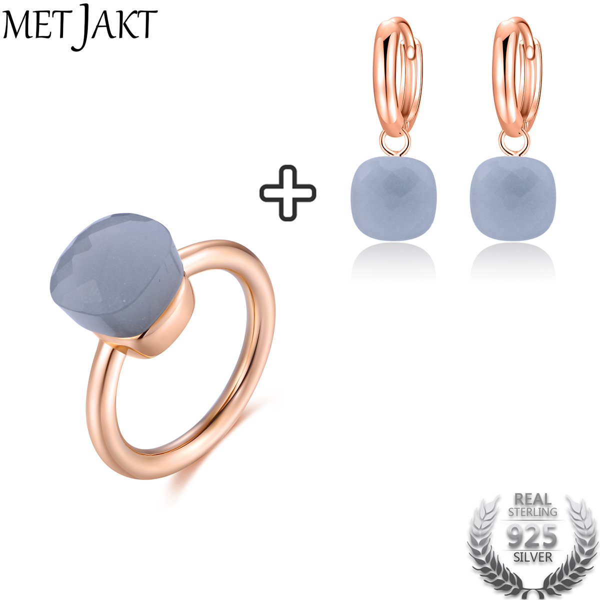 MetJakt Natural Gray Agate Earring Ring Sets 14K Rose Gold Color Jewelry Solid 925 Sterling Silver