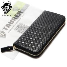 Fashion Larger Capacity 100% Real Genuine Leather Purse Wallet Black Color Men's Vintage Wallets