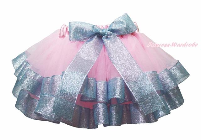 De luz el Bling rosado azul con adornos de la danza del tutú niñas falda del bebé Pettiskirt NB-8Y