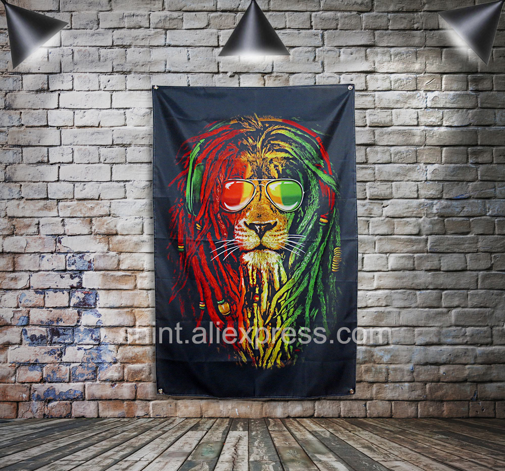 Bob Marley Flag Banner Polyester 144* 96cm Hang on the wall 4 grommets Custom Flag indoor Colorful Lion image