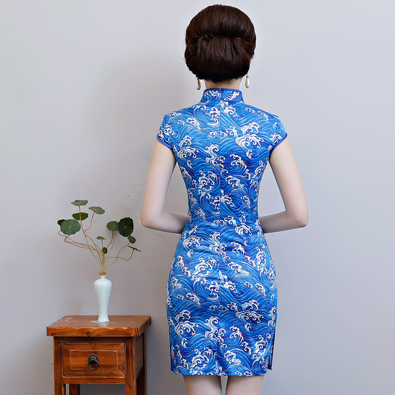 New Arrival Women's Satin Mini Cheongsam Fashion Chinese Style Dress Elegant Slim Qipao Clothing Size S M L XL XXL 368483 16