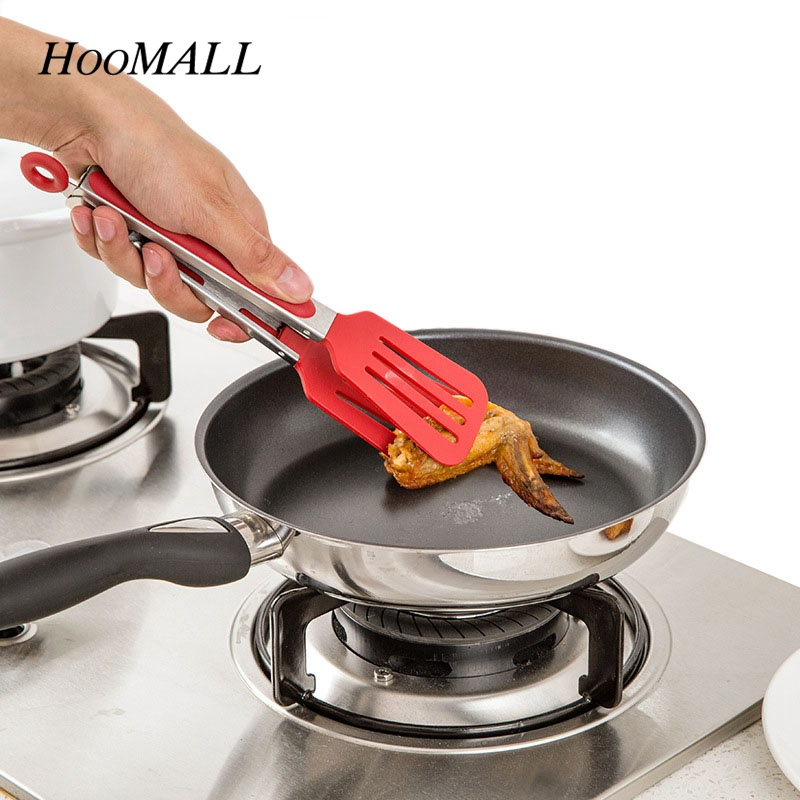 Hoomall Food Grade Stainless Steel&Nylon Barbecue Tong Non-Stick Kitchen Tongs Cooking Tool Salad Serving Toots Pizza Bread Clip
