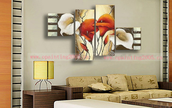 Handmade 4 Pcs Abstract Picture On Canvas Lily Flower Oil Painting For Living Room Wall Artwork Free Shipping Modern Pictures
