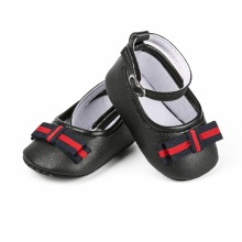 Baby Girl shoes lovely Bowknot PU Leather White and Black color Shoes Anti-Slip Sneakers Soft Sole Newborn Moccasins For Girls