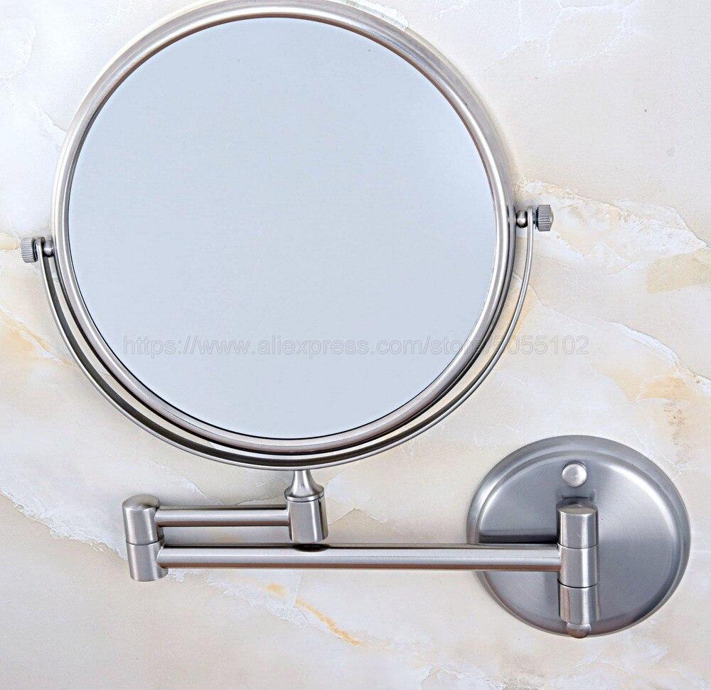 Двусторонняя Ванная комната складной латунь бритье макияж зеркало матовый никель настенный двойной с удлиняемым кронштейном зеркало для ванной zba636