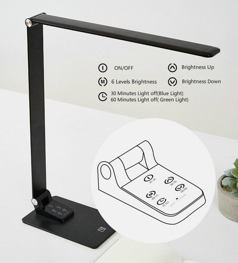 Ультратонкая Современная черная настольная лампа USB зарядка сенсорный диммер 30 уровневый светильник ing алюминиевый светодиодный светильник для книг для рабочего стола Кабинета офиса - 6