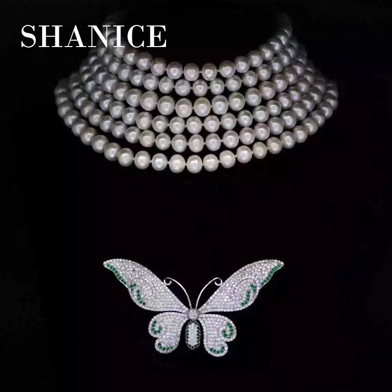 SHANICE Exquisite Colorful Enamel Butterfly Brooch Pin Clear AAA CZ Luxury Jewelry Accessory Pearl Component Connector