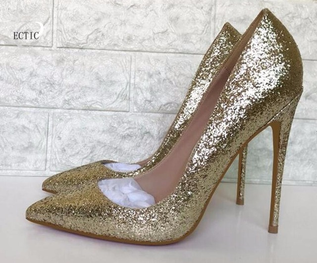 Top Quality Women Pumps Pointed High Heels Elegant Bridal Women Shoes Gold  Glitter Wedding Shoes Bling