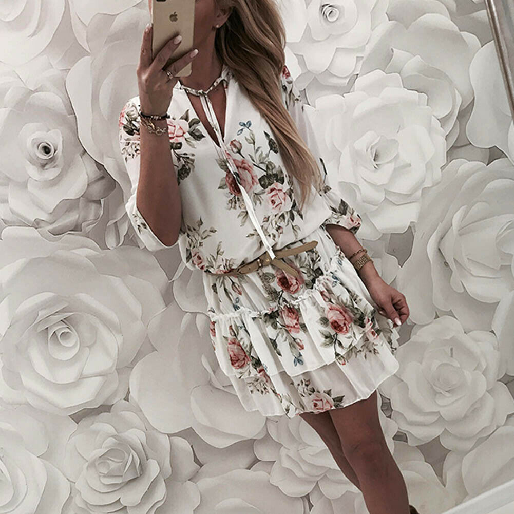 Vintage Women's Wrap Summer V Neck Boho Floral Print Dress Elegant Ladies Holiday Beach Mini Sundress Plus Size