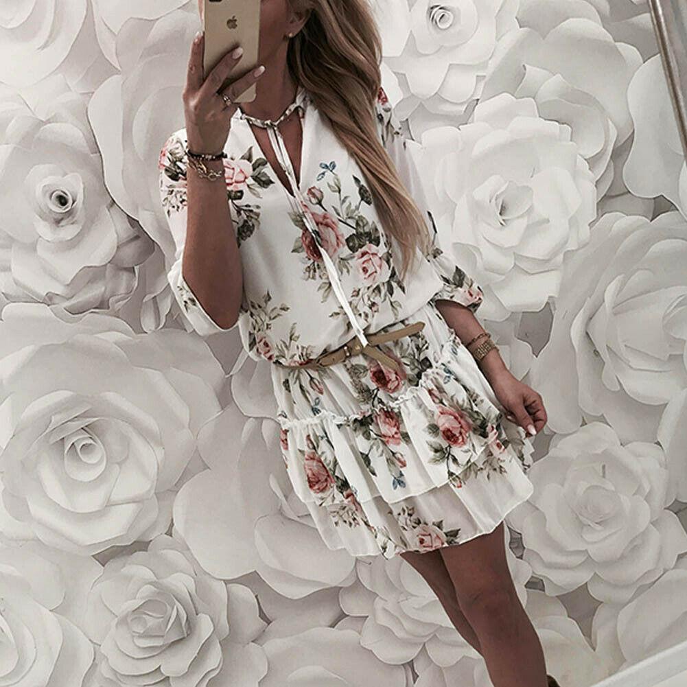 Wrap المرأة التفاف الصيف الخامس الرقبة بوهو الأزهار طباعة فستان أنيق السيدات عطلة شاطئ فستان الشمس الصغير حجم كبير|Dresses| - AliExpress