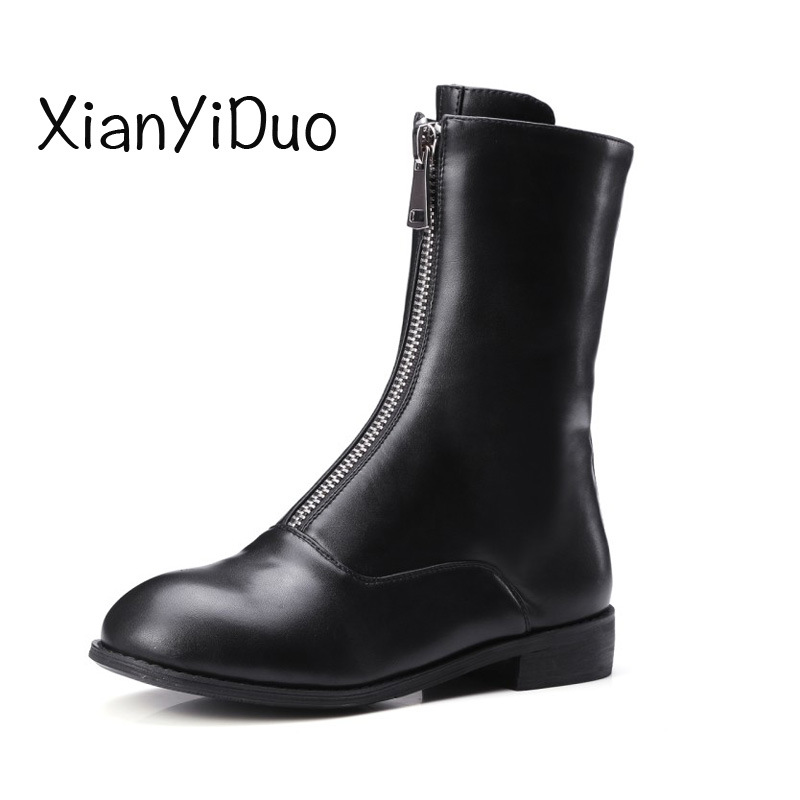 XianYiDuo 2018 Spring/Autumn Women's Shoes boots Zipper Round Toe Low Heels big large plus size 40-43 boots in Ankle Boots /3709 spring autumn chunky 4cm low heels sweet bow lolita girls shoes pincess round toe vintage shoes plus size