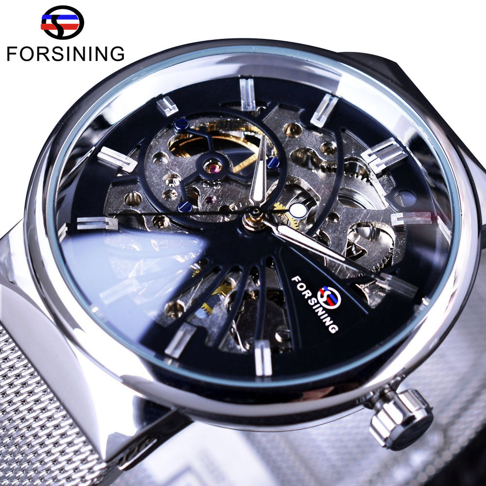 Forsining 2017 Fashion Casual Neutral Design Silver Steel Transparent Case Skeleton Watch Mens Watch Top Brand Luxury Mechanical