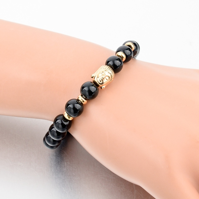 Фото женский и мужской браслет с бусинами chicvie черный будда золотого цена