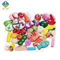 Brinquedos Do Bebê 20 Pçs/lote Yiwang Educação infantil Brinquedos de Madeira Crianças Fruit Vegetal de Cozinha Corte Brinquedos Crianças Pretend Play Jouet