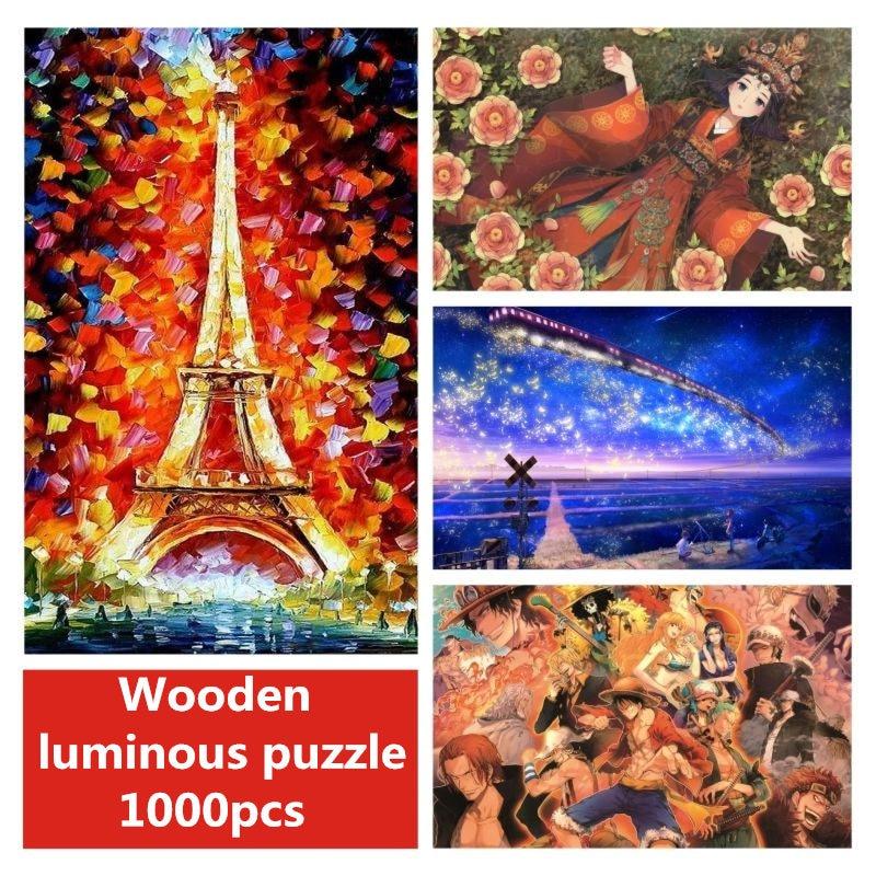 Dubbi wooden Puzzle 1000 pieces Noctilucent Luminous puzzle for children educational toys puzzle game jigsaw puzzle