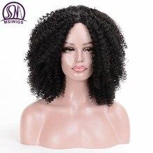 MSIWIGS peluca sintética corta rizada para mujer, pelo marrón Natural Afro, africano, americano, de fibra de alta temperatura, negro
