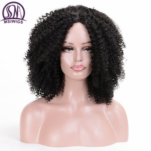 Image 1 - MSIWIGS peluca sintética corta rizada para mujer, pelo marrón Natural Afro, africano, americano, de fibra de alta temperatura, negro