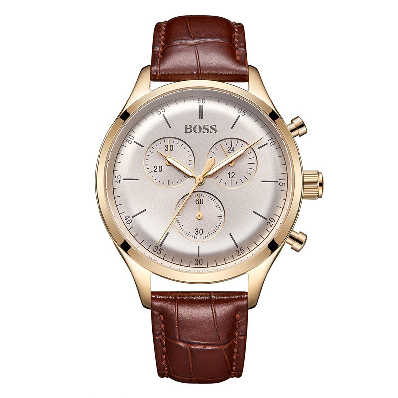 BOSS Companion Chronograph Quartz Men 39 s Watch Fashion Business Wrist Watch with Brown Leather 1513545 in Quartz Watches from Watches