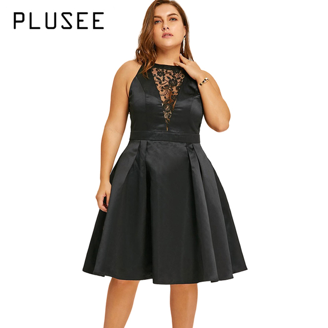 US $24.98 30% OFF|PLUSEE Plus Size Dress Vestidos Ladies Dresses Black Lace  Insert Sleeveless Vintage Party Dress Women Vestido Robe Big Size 4XL-in ...