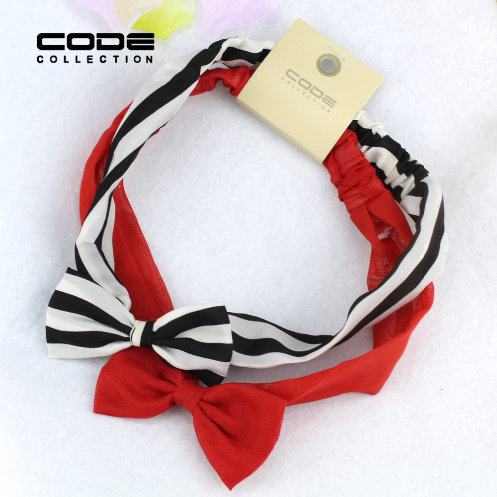 2pcs/set Hair Hoop Black White Striped Red Chiffon Bow Summer Hairband Women Girls Child Hairband  Accessories Holiday Gift  2 pcs black white 100