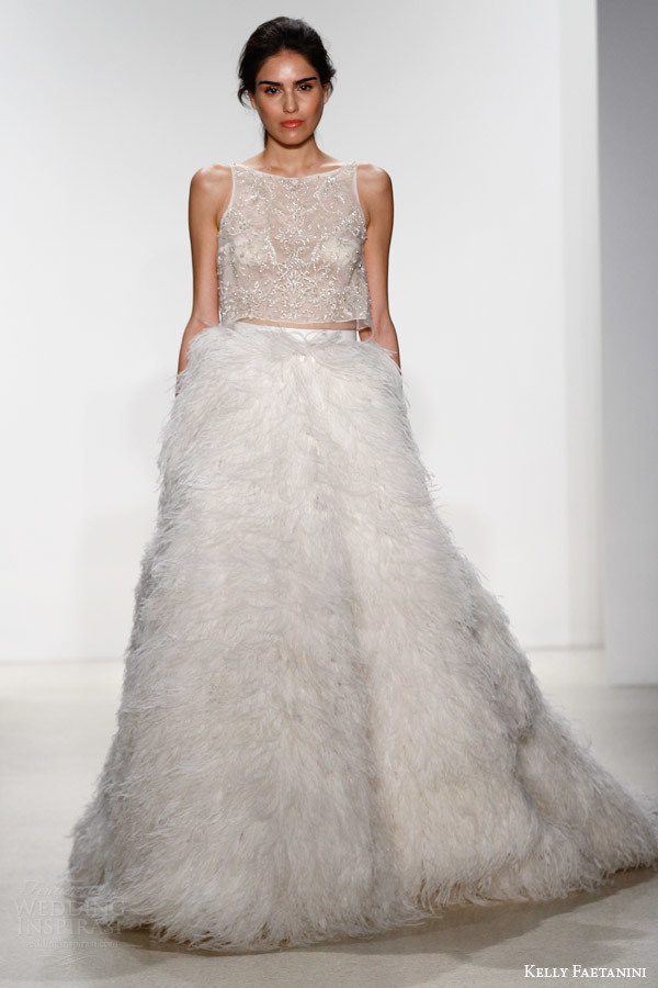 Gaun pengantin Bulu 2019 Dengan Crop Top Mewah 2 Pieces