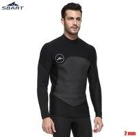 SBART Men Black Diving Jacket 2 mm Neoprene Nylon Pullover Elastic Keep Warm Dive Suit Snorkel Winter Swimming Diving T shirt