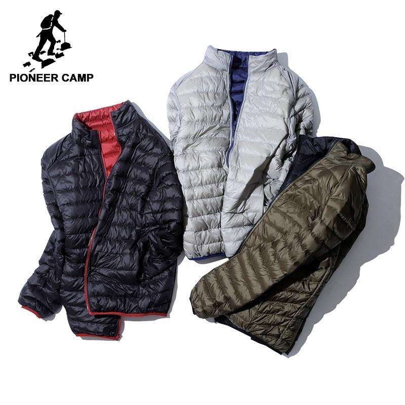 Пионерский лагерь ультра тонкий Packable пуховая куртка мужская брендовая одежда Простой повседневный пуховик мужской обратимым одежда ayr701384