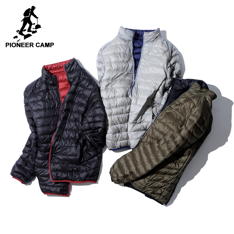Pioneer Camp ultra Thin Packable   down   jacket men brand-clothing ultralight casual duck   down     coat   male reversible wear AYR701384