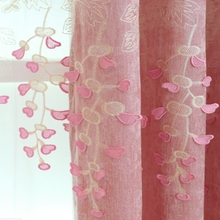 Pink Relief Chenille American Pastoral Embroidery Curtain Fabric For Living Room Thick Shade Curtain Cloth Wedding Room DF050-30