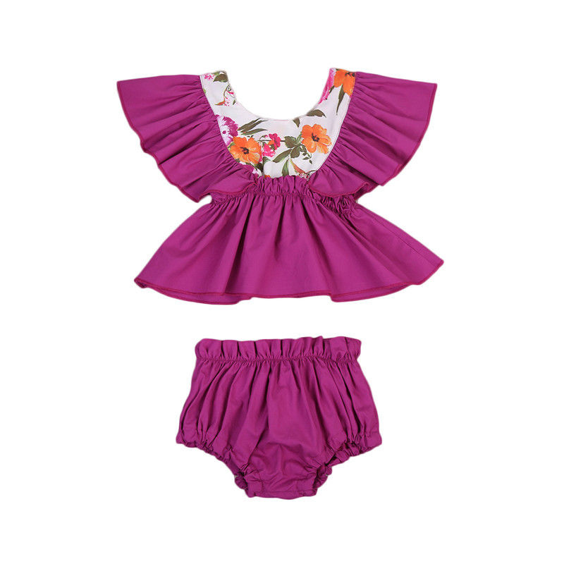 2PCS Ruffles Newborn Baby Clothes 2017 Summer Princess Girls Floral Dress Tops+Baby Bloomers Shorts Bottom Outfits Sunsuit 0-24M 0 24m floral baby girl clothes set 2017 summer sleeveless ruffles crop tops baby bloomers shorts 2pcs outfits children sunsuit
