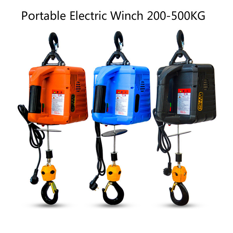 220V Electric Winch Portable Winch Windlass 500KGX7.6M 200x19M With Wireless Remote Controller Electric Hoist