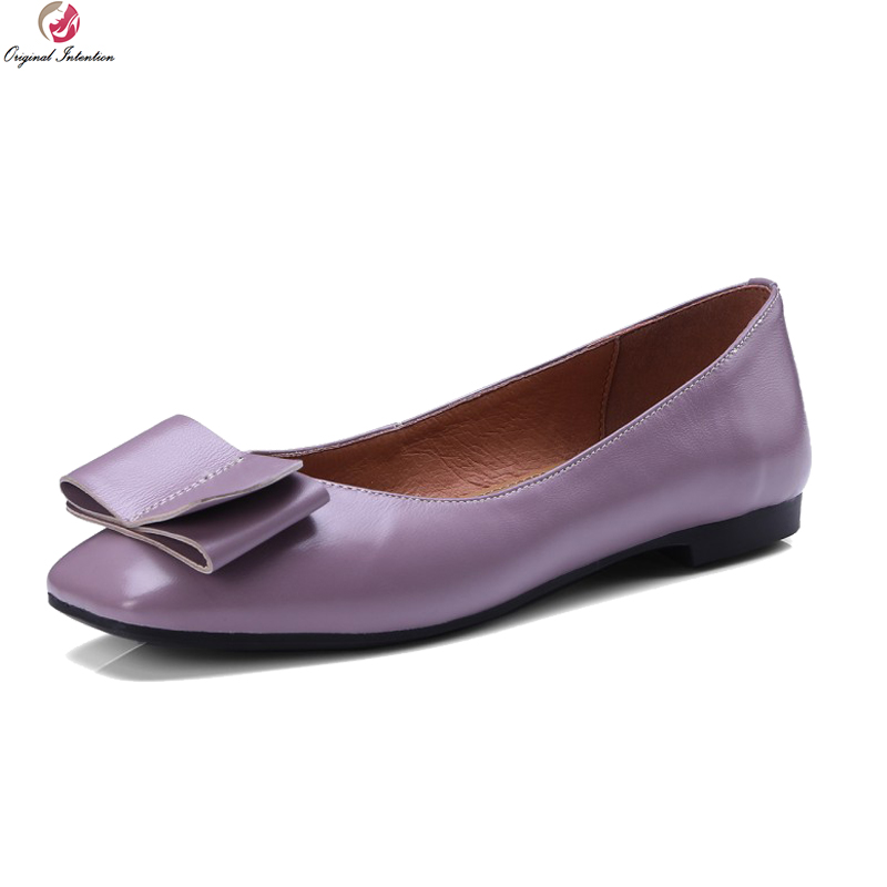 Original Intention High-quality Women Flats Cow Leather Stylish Square Toe Flat Shoes Gorgeous 3 Colors Shoes Woman US Size 3-9 original intention high quality women