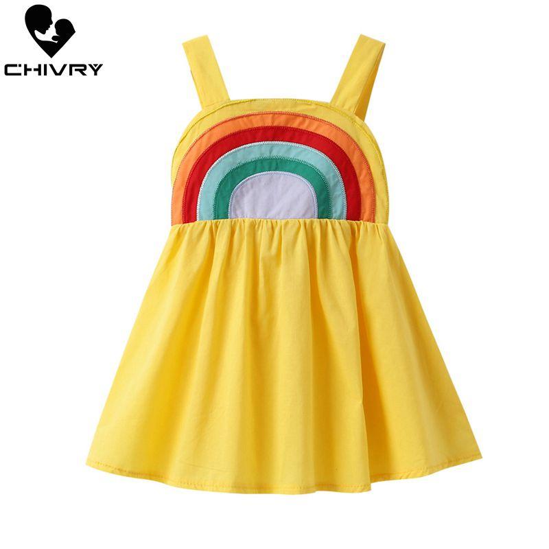 Little Girls Summer Dress Rainbow Print Princess Dresses Kids Baby Girls Sling Strapless Sleeveless Loose New A-line Sundress