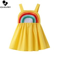 Little Girls Summer Dress Rainbow Print Princess Dresses Kids Baby Girls Sling Strapless Sleeveless Loose New A-line Sundress цена 2017