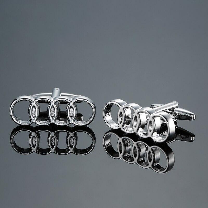 DY new high-end luxury car circle logo Silver Cufflinks fashion Mens French shirt Cufflink free shipping