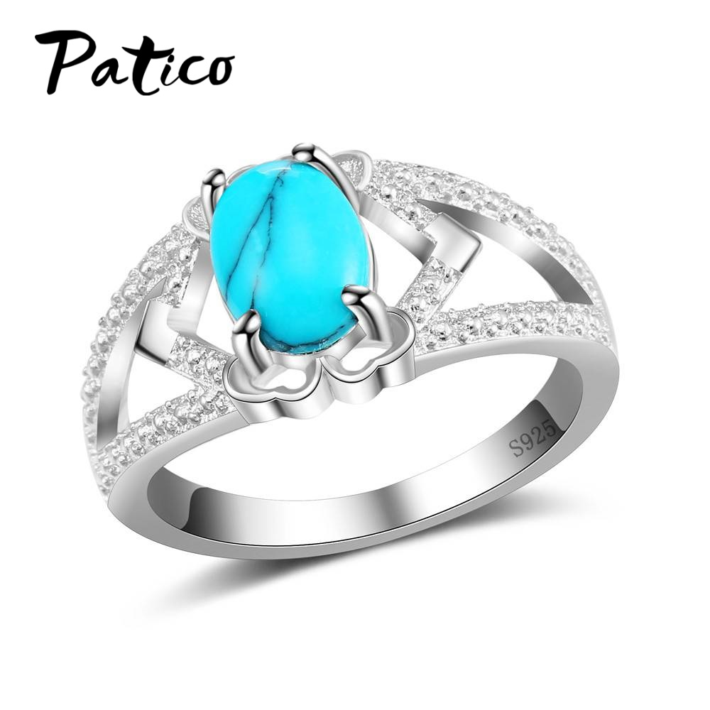 PATICO Fashion Vintage Artificial Oval Sea Blue Cats eye Big Opal Stone Ring Antique Silver Color Exaggerated Noble Ring Women