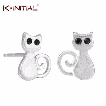 1Pcs Korean 925 Silver Cute Lovely Cat Earrings Jewelry Animal Kitty Stud Earring for women Anti-Allergic Piercing Studs Earring