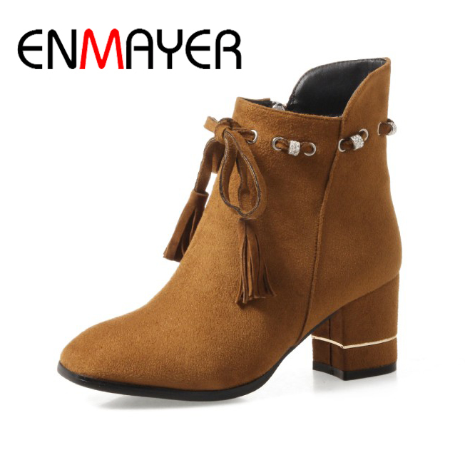 ENMAYER Woman Ankle Boots High Heels Ladies Solid Round Toe String Bead Square Heel Shoes Western Large Size 34-43 2017 Fashion enmayla ankle boots for women low heels autumn and winter boots shoes woman large size 34 43 round toe motorcycle boots