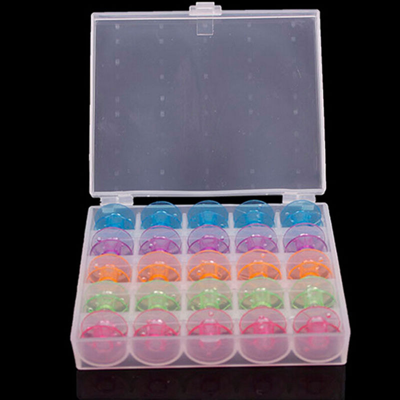 25 Grid Clear Storage Case Box with 25Pcs Empty Plastic Bobbins Spool